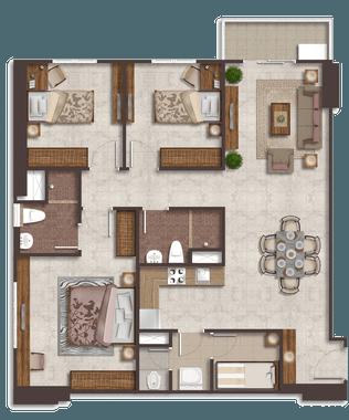 Luxurious Suite A (H,K) - denah